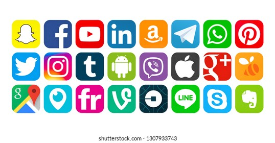 Kiev, Ukraine - March 25, 2017: Set of popular social media icons printed on white paper: Snapchat, Facebook, YouTube, Linkedin,Amazon,Telegram, WhatsApp, Pinterest, Twitter, Instagram,Tumblr,Android.