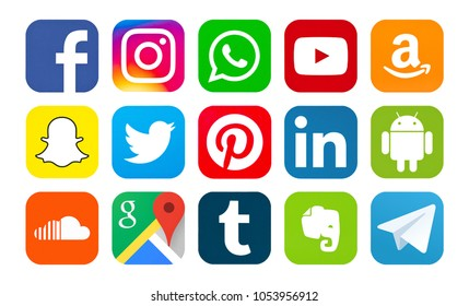 Kiev, Ukraine - March 25, 2018: Set of popular social media icons printed on white paper: Facebook, Instagram, Snapchat,Twitter, Instagram,YouTube, Tumblr, Android,Telegram,WhatsApp,Amazon,Pinterest.