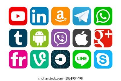 Kiev, Ukraine - March 25, 2018: Set of popular social media icons printed on white paper: YouTube, LInkedin, Amazon, Telegram, Android, Viber, Apple, Google Plus Vine, Uber, Line, Skype,Tumblr, Flickr