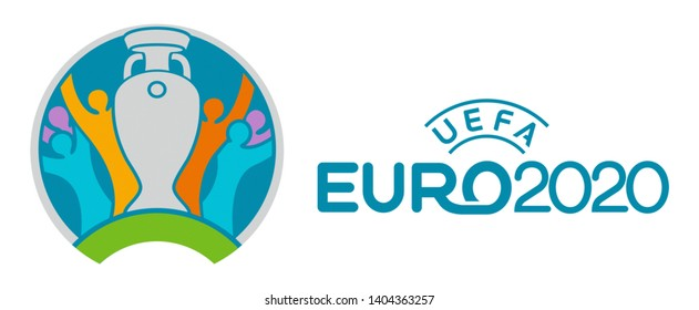 Kiev, Ukraine - March 25, 2019: UEFA EURO 2020 official logo printed on paper and placed on white. UEFA EURO is one of the most famous football tournament in the world.