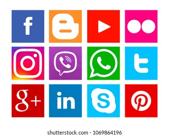 Kiev, Ukraine - March 26, 2018: Collection of popular social media logos printed on paper: Facebook, Twitter, Google Plus, Instagram, Pinterest, LinkedIn, YouTube and others.