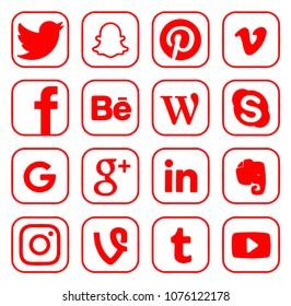 Kiev, Ukraine - March 26, 2018: Collection of popular social media logos printed on paper: Facebook, Twitter, Google, Instagram, Pinterest, LinkedIn and others.