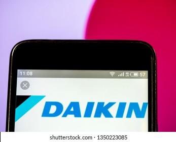 KIEV, UKRAINE - March 26, 2019: In this photo illustration a Daikin Industries, Ltd. logo seen displayed on a smart phone.