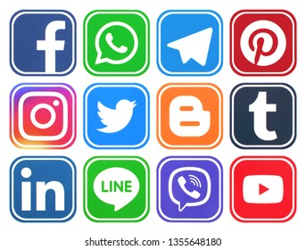 KIEV, UKRAINE -  March 27 2019, This is a photo collection of popular social media logos printed on paper: Facebook, Twitter, LinkedIn, Pinterest, Instagram, Youtube, Line and other