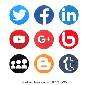 KIEV, UKRAINE - MARCH 28, 2016: Collection of popular social media logos printed on paper: Twitter, Facebook,  Google Plus, LinkedIn, YouTube, Bebo, MySpace, Bloger, and Tumblr