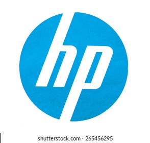 """KIEV, UKRAINE - MARCH 31, 2015: """"HP Hewlett Packard"""" brand logo printed on paper and placed on white background. HP was founded in 1939 by two - William Hewlett and David Packard."""