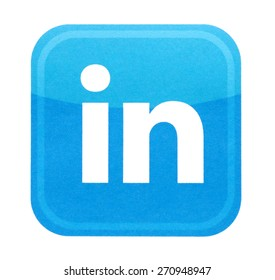 KIEV, UKRAINE - MARCH 31, 2015: Linkedin logo printed on paper and placed on white background. Linkedin is a business-oriented social networking service.