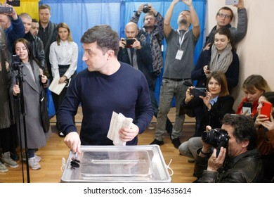 KIEV, UKRAINE - MARCH 31, 2019: Presidential candidate Volodymyr Zelensky voting for Ukrainian presidential election at polling station in Kiev