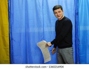 KIEV, UKRAINE - March 31, 2019: Presidential candidate in Ukraine Volodymyr Zelensky vote at the polling station during the election of the President of Ukraine.