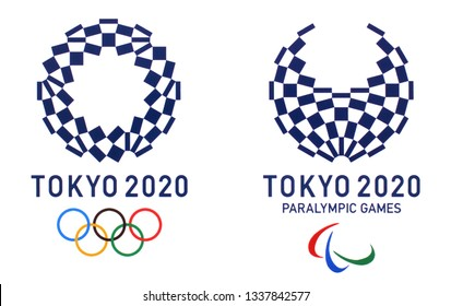 Kiev, Ukraine - March 5, 2019:  logos of the 2020 Summer Olympic Games in Tokyo, Japan,  printed on paper