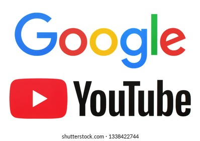 Kiev, Ukraine -  March 5, 2019; Collection of Google logos and Youtube, printed on white paper. Google is USA multinational corporation and Youtube