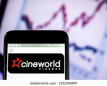 KIEV, UKRAINE - March 6, 2019: Cineworld Group plc company logo seen displayed on smart phone.