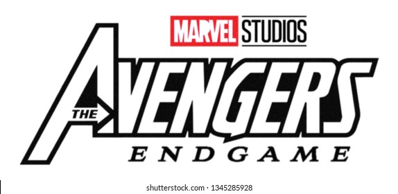 Kiev, Ukraine - March 6, 2019: Set of Avengers ENDGAME film logo and Marvel Studios logo printed on paper.
