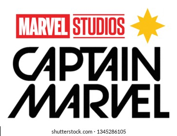 Kiev, Ukraine - March 6, 2019: Set of Captain Marvel movie logo, Marvel Studios logo and Captain Marvel symbol printed on paper.