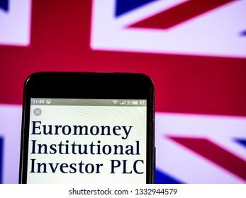 KIEV, UKRAINE - March 7, 2019: Euromoney Institutional Investor PLC company logo seen displayed on smart phone.