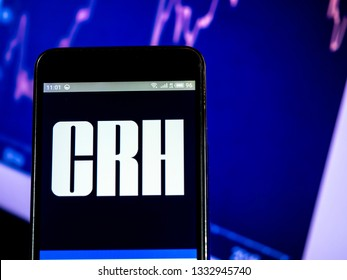 KIEV, UKRAINE - March 7, 2019: CRH Plc. company logo seen displayed on smart phone.