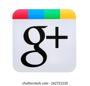 "KIEV, UKRAINE - MARCH 8, 2015: the logo of the brand ""Google Plus"", printed on paper and placed on white background. Google is one of the most popular search engines."