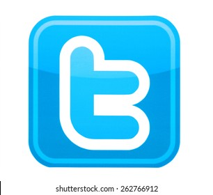 KIEV, UKRAINE - MARCH 8, 2015: Twitter logo printed on paper and placed on white background. Twitter is a social networking and microblogging service.