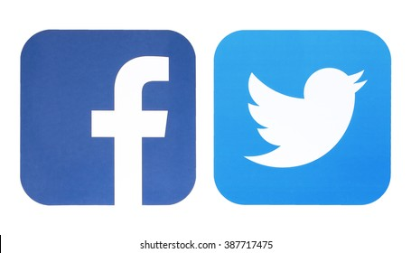 KIEV, UKRAINE - MARCH 8, 2016: Facebook and Twitter logo. Social network facebook and twitter sign on pc sign.