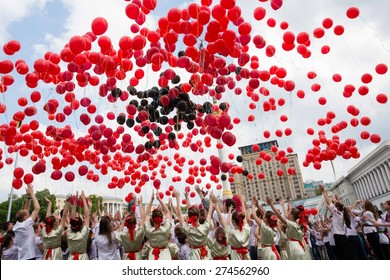 KIEV, UKRAINE - May. 01, 2015: Flashmob Poppies of memory on Independence Square in Kyiv