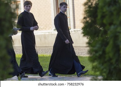 Kiev, Ukraine - May 01, 2016: Young seminarians on the territory of St. Michael's Golden-Domed Monastery