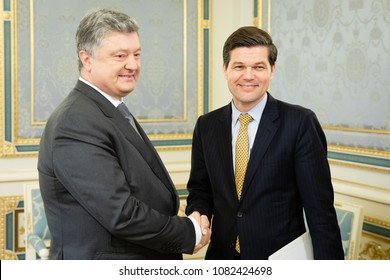 KIEV, UKRAINE - May 02, 2018: Assistant Secretary of State for European and Eurasian Affairs Wess Mitchell during a meeting with President of Ukraine Petro Poroshenko