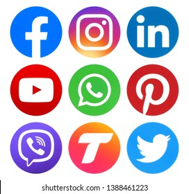 Kiev, Ukraine - May 02, 2019: Collection of popular social media circle logos printed on paper: Facebook, Tango, Viber, Instagram, Linkedin, Twitter, Pinterest, YouTube,WhatsApp