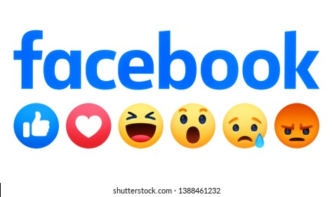 Kiev, Ukraine - May 02, 2019: New Facebook like button 6 Empathetic Emoji Reactions printed on white paper. Facebook is a well-known social networking service