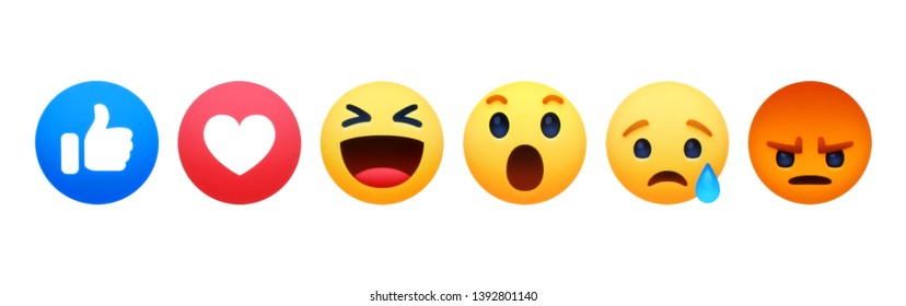 Kiev, Ukraine - May 02, 2019: New Facebook like button 6 Empathetic Emoji Reactions printed on white paper. Facebook is a well-known social networking service.