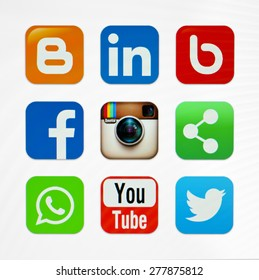 KIEV, UKRAINE - MAY 03, 2015: Icons popular social networking applications.
