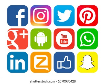 Kiev, Ukraine - May 04, 2017: Set of popular social media icons printed on white paper: Facebook, Instagram, Google Plus, Twitter, Youtube, Android, Linkedin, Zello, Pinterest, WhatsApp, Snapchat.