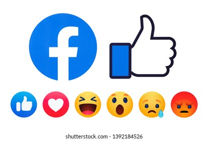 Kiev, Ukraine - May 05, 2019: New Facebook like button 6 Empathetic Emoji reactions printed on paper.Facebook is a known social networking service.