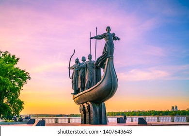 Kiev, Ukraine - May 05, 2019: Monument to the founders of Kyiv (Kiev) at sunrise.Statue of Kyi, Shchek, Horyv and Lybid. Kyiv the capital of Ukraine