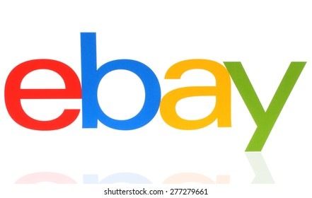 KIEV, UKRAINE - MAY 07, 2015:eBay logotype printed on paper on white background. eBay Inc. is an American multinational corporation and e-commerce company, providing sales services via Internet