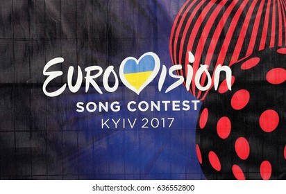 KIEV, UKRAINE - MAY 07, 2017: Photo of banner with official logo of Eurovision Song Contest 2017