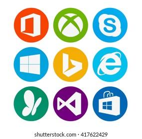 Kiev, Ukraine - May 08, 2016: Set of Microsoft products logos on pc screen: Office, XBOX, Skype, Windows 10, Bing, Internet Explorer, MSN,  Visual Studio,  Windows Store.