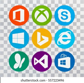 Kiev, Ukraine - May 08, 2016: Set of Microsoft products logos on pc screen. Office, XBOX, Skype, Windows 10, Bing, Internet Explorer, MSN,  Visual Studio,  Windows Store.