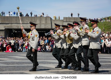 KIEV, UKRAINE - May. 09, 2015: Military bands march on the day of the 70th anniversary of the victory over Nazism in Kiev