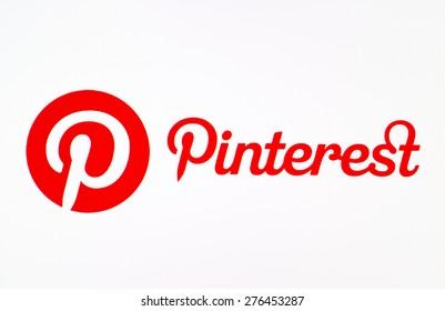 KIEV, UKRAINE - MAY 09, 2015:  Pinterest logotype on pc screen.  Pinterest is photo sharing website.