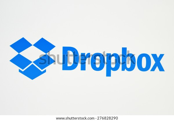 KIEV, UKRAINE - MAY 09, 2015: Dropbox logotype on pc screen. Dropbox cloud storage, allowing users to store their data on servers in the cloud.