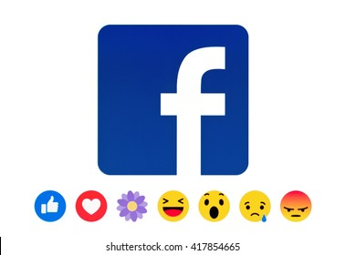 Kiev, Ukraine - May 09, 2016:New Facebook like button Empathetic Emoji Reactions in the form of a flower likes and his name is THANKFUL on pc screen. Facebook is a known social networking service.