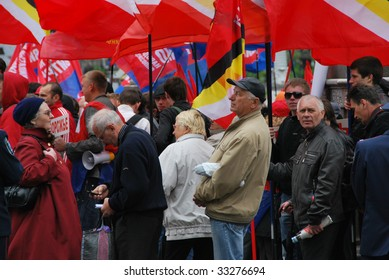 KIEV, UKRAINE - MAY 1: Supporters of People's Opposition Bloc of Natalia Vitrenko stand during a demonstration on Workers Day on May 1, 2009 in Kiev, Ukraine.