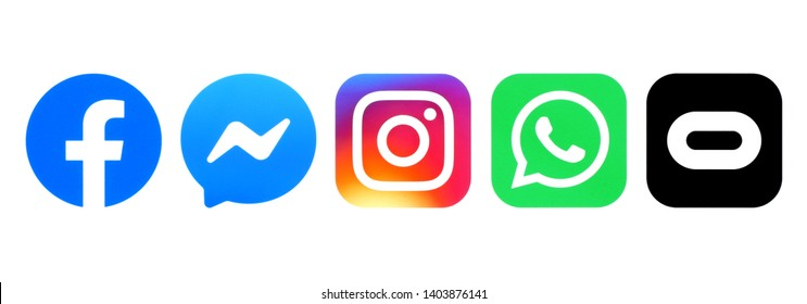 Kiev, Ukraine - May 10, 2019: Set of Facebook family logos printed on white paper: Facebook, Messenger, Instagram, WhatsApp and Oculus