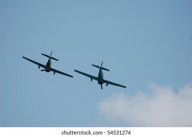 KIEV, UKRAINE - MAY 10 : Soviet military airplanes (imitation) during historical reenactment of 1945 WWII, May 10, 2010 in Kiev, Ukraine