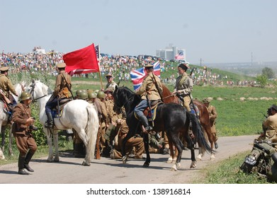 KIEV, UKRAINE - MAY 11 : An unidentified members of Red Star history club wear historical Soviet, American and British uniform during historical reenactment of WWII on May 11, 2013 in Kiev, Ukraine