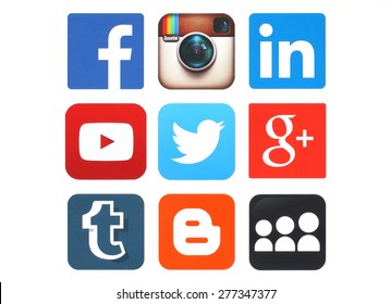 KIEV, UKRAINE - MAY 12, 2015:Collection of popular social media logos printed on paper:Facebook, Twitter, Google Plus, Instagram, MySpace, LinkedIn, YouTube, Tumblr and Blogger
