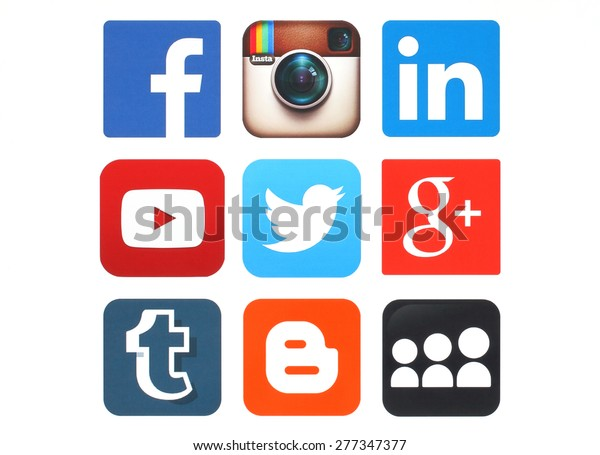 KIEV, UKRAINE - MAY 12, 2015:Collection of popular social media logos printed on paper:Facebook, Twitter, Google Plus, Instagram, MySpace, LinkedIn, YouTube, Tumblr and Blogger