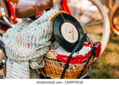 Kiev, Ukraine - May 12, 2018: Beautiful sping wicker bicycle basket with vynil.