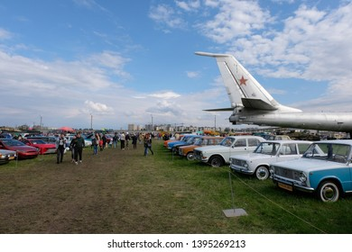 KIEV, UKRAINE - May 12, 2019: A row of classic soviet Lada Zhiguli cars at an airfield in Kiev Ukraine. These cars are a part of the OldCarLand vintage car show.