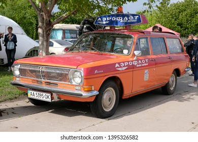 KIEV, UKRAINE - May 12, 2019: A vintage  GAZ 24 Volga combi car used as personnel transport for Aeroflot Soviet Airlines. This vehicle was on display at the OldCarLand auto show in Kiev.